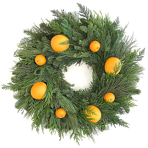 "22"" Citrus Live Wreath, Green/Orange"