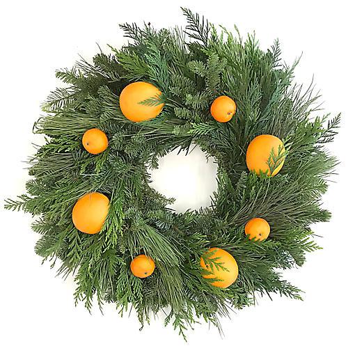 "22"" Citrus Live Wreath, Green/Orange"