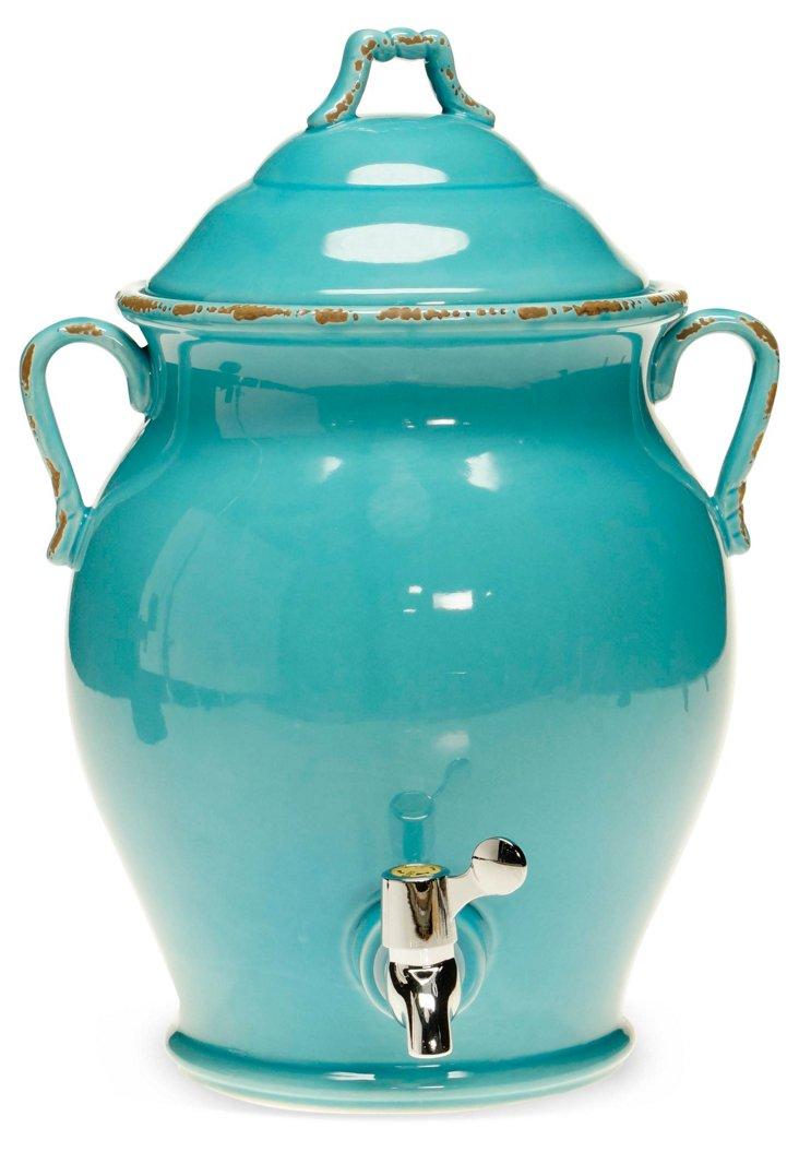 Ceramic Beverage Dispenser, Teal