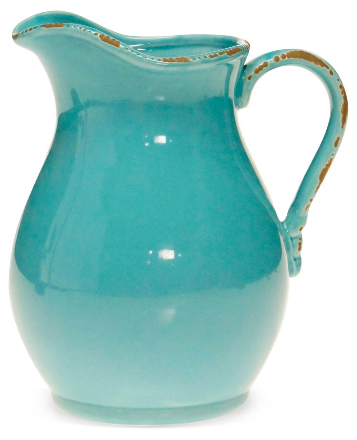 Ceramic Pitcher, Teal