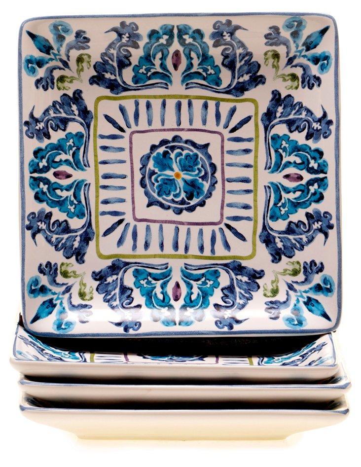 S/4 Ceramic Canapé Plates, Indigo