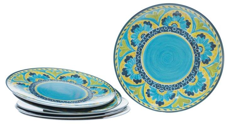 S/6 Melamine Mexican Tile Plates, Blue