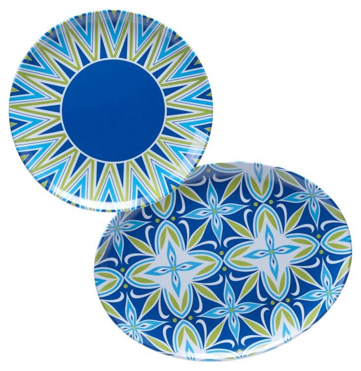 S/2 Asst. Melamine Platters, Blue