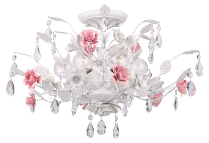 Lola 6-Light Ceiling Mount, White/Pink