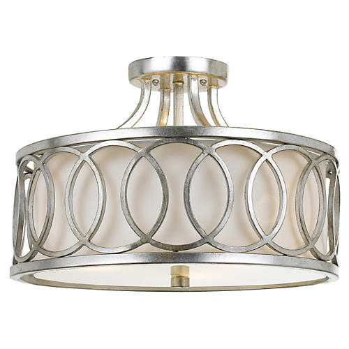 3-Light Ceiling Mount, Antiqued Silver