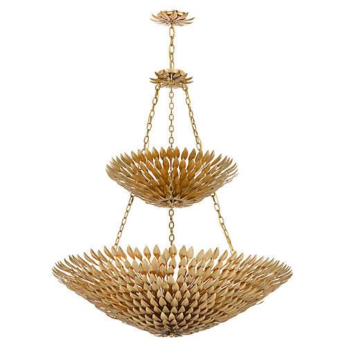 18-Light Leaf Chandelier, Antiqued Gold
