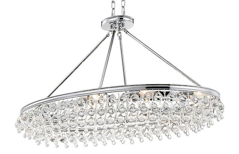 Calypso 8-Light Oval Chandelier, Chrome