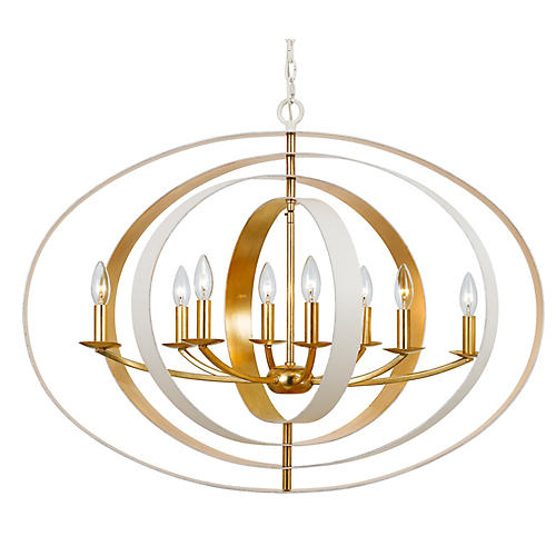 Luna 8-Light Chandelier, White/Gold