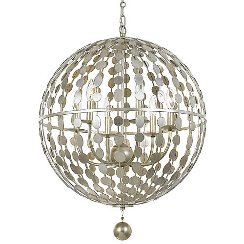 Layla 6-Light Chandelier, Antiqued Silver