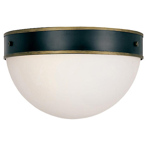Capsule Outdoor 2-Light Flush Mount, Black/Gold