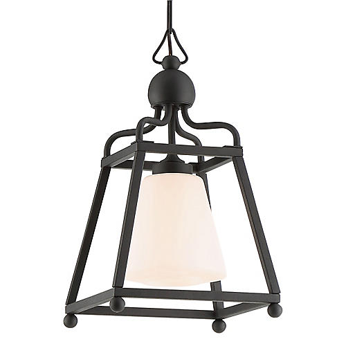 Sylvan Outdoor Pendant, Black/Frosted