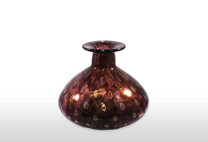 Sm. Murano Vase, Black & Gold