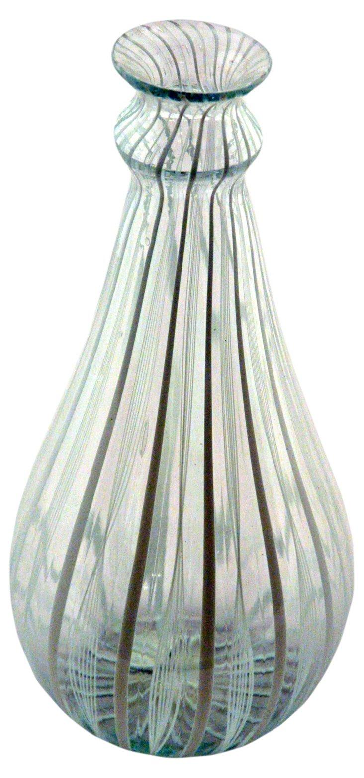 Glass Filigree Vase, Brown/White