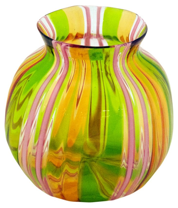 Glass Filigree Vase, Pink/Yellow