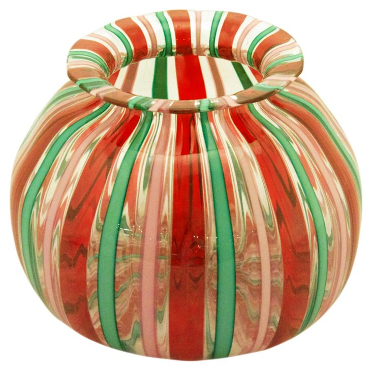 Glass Filigree Vase, Red/Pink/Green