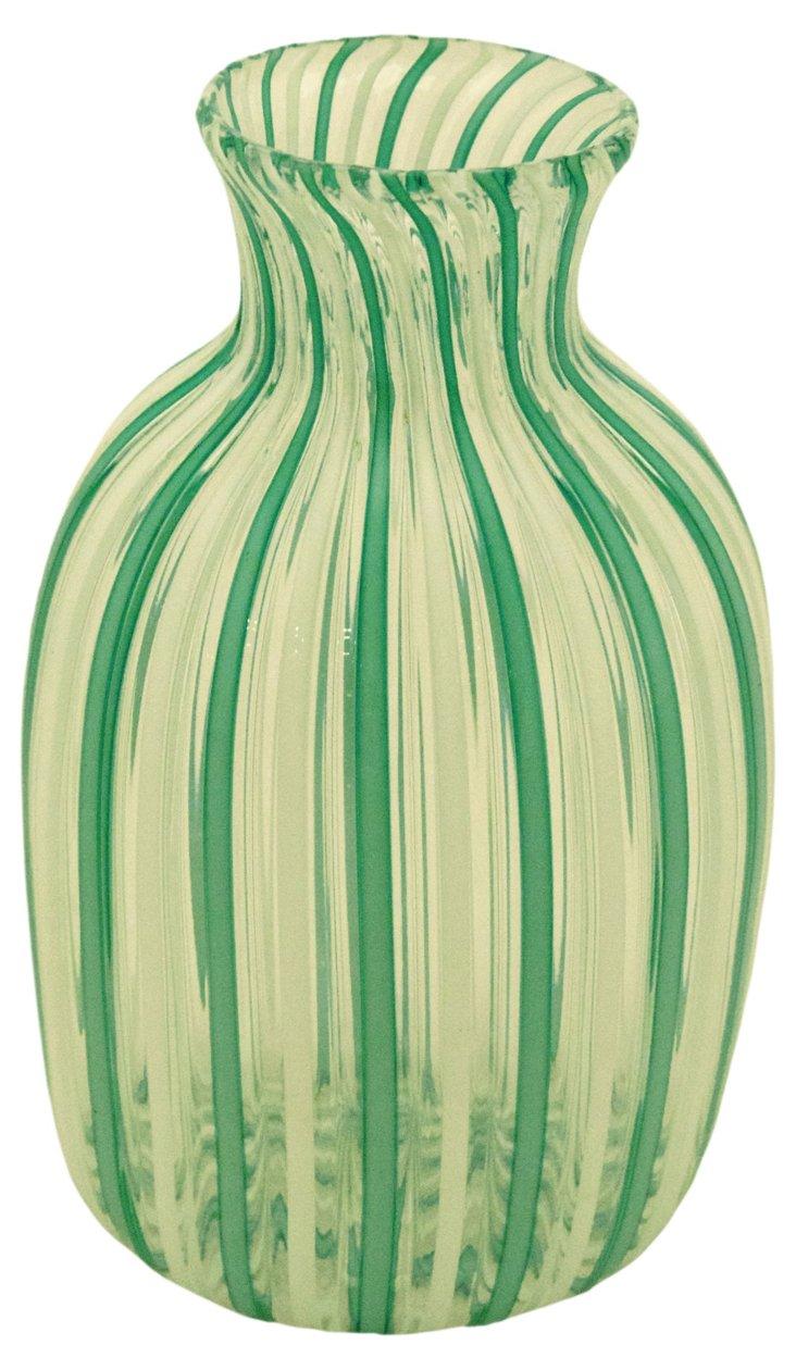 Glass Filigree Bottle, Green/White