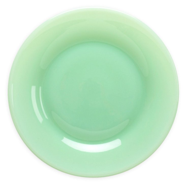 S/4 Flint Glass Salad Plates, Jadeite