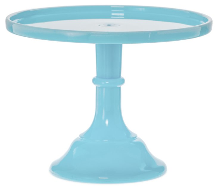 Flint Glass Cake Plate, Blue