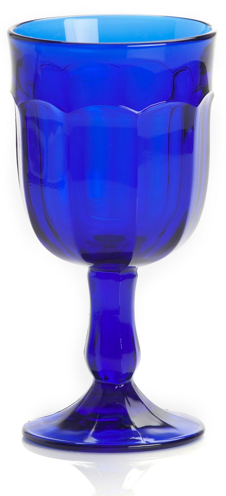 S/4 Chiseled Water Goblets, Blue