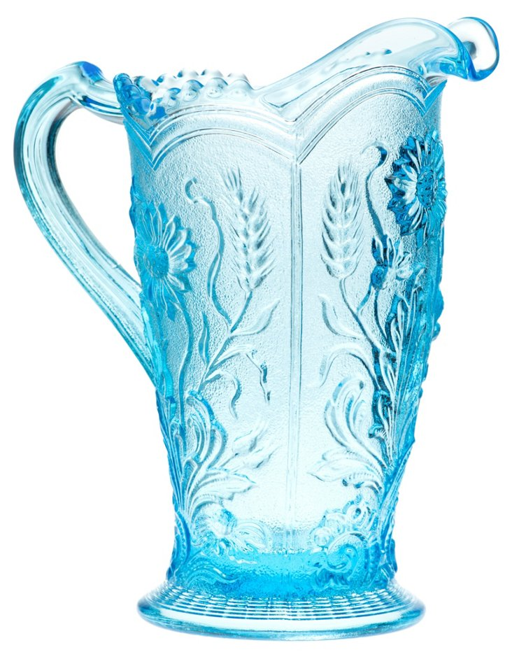Pressed Glass Pitcher, Aqua