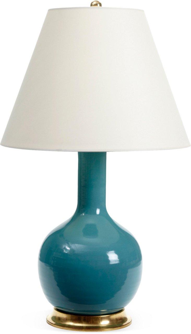 Medium Single Gourd Lamp, Aqua