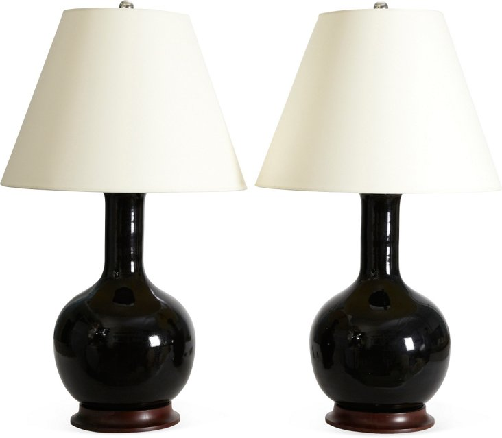 Black Medium Gourd Lamps, Pair