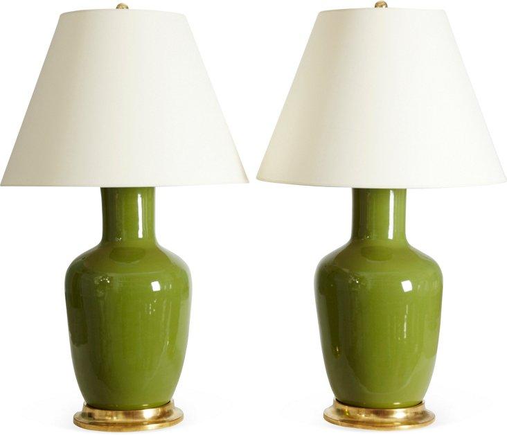 Avocado Ginger Jar Lamps, Pair