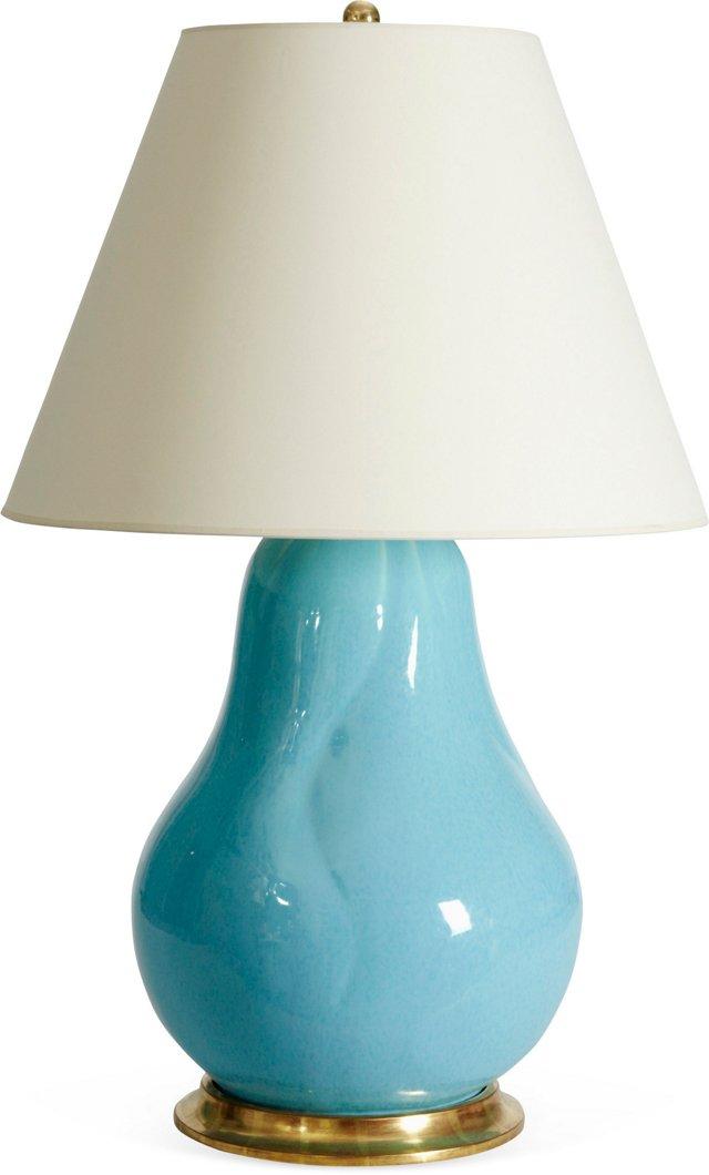 Butternut Gourd Lamp, Opalescent Blue