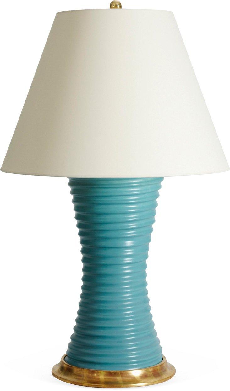 Ribbed Hour Glass Lamp, Matte Aqua