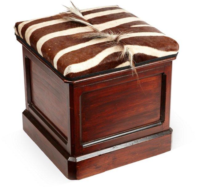 Mahogany & Zebra-Hide Bench