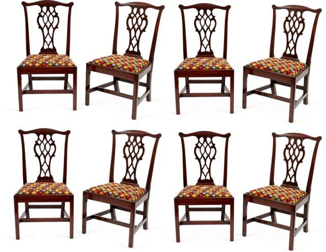Needlepoint Mahogany Chairs, Set of 8