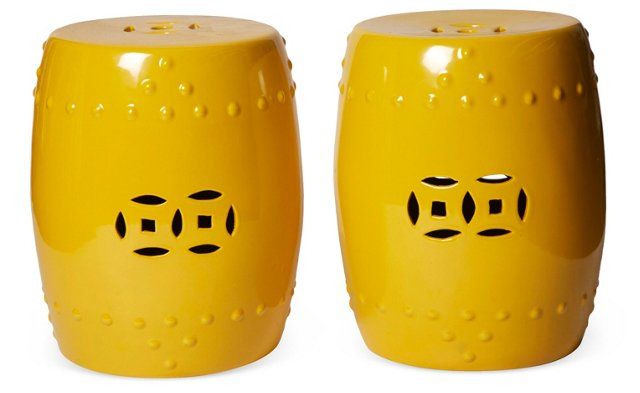 Yellow Porcelain Garden Stools, Pair