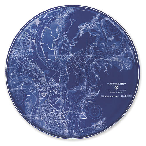 Chart Charleston Harbor Platter, 12.5""