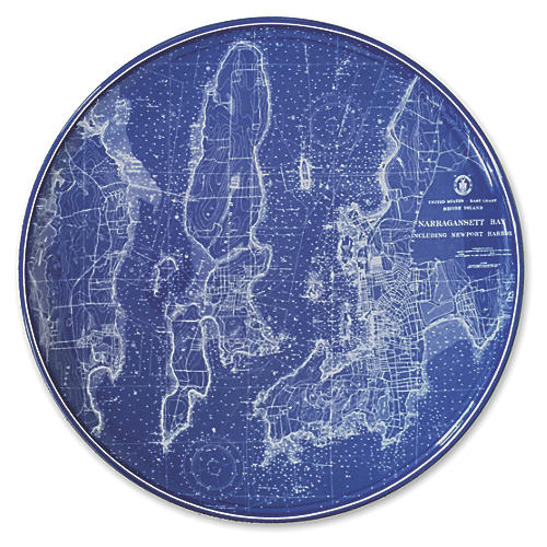 "Chart Newport RI Blue Platter, 12.5"""