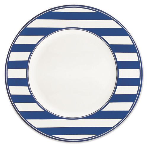 Beach-Towel-Striped Dinner Plate, 11""