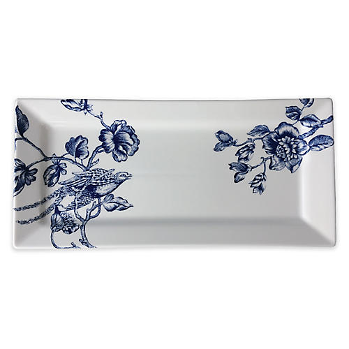 Chinoiserie Serving Tray, White/Blue