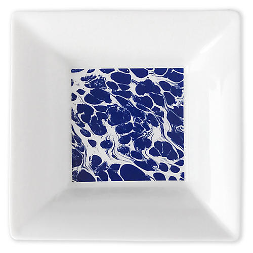 "5"" Marbled Trinket Tray, White/Blue"