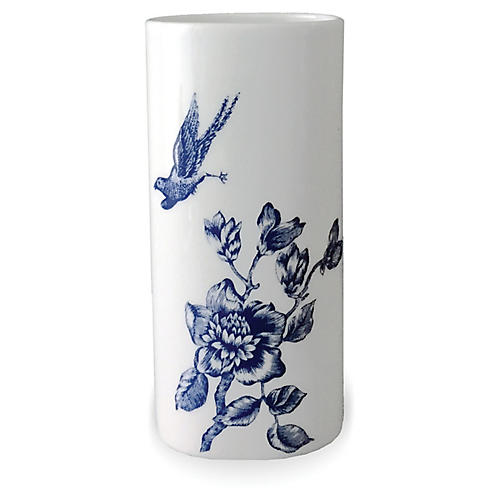"7"" Chinoiserie Bud Vase, White/Blue"