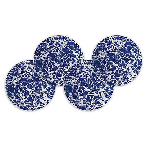 S/4 Marble Dessert Plates, Blue/White