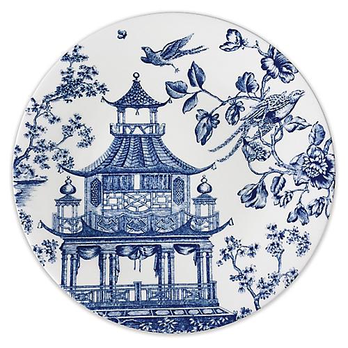 Chinoiserie Round Platter, White/Blue