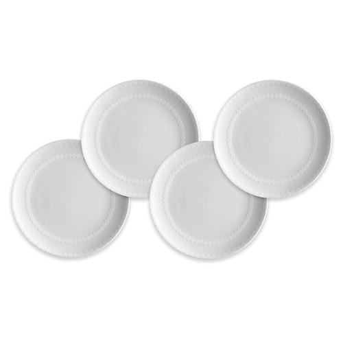 S/4 Pearls Dessert Plates, White