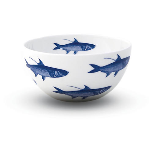 School of Fish Bowls, White/Blue