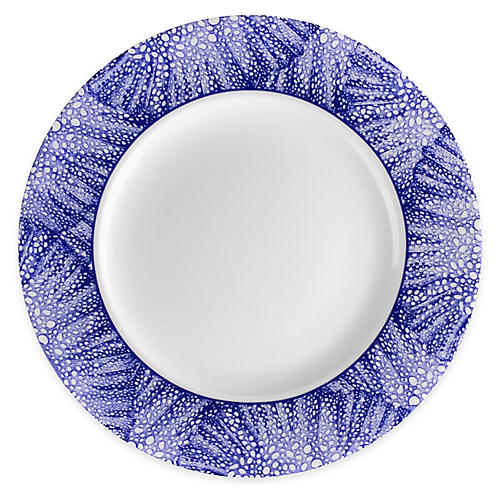 Sea-Fan Salad Plate, White/Blue