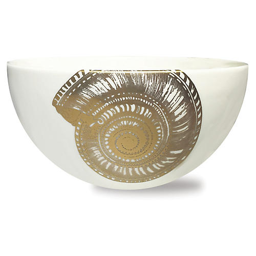 Shells Bowl, White/Gold