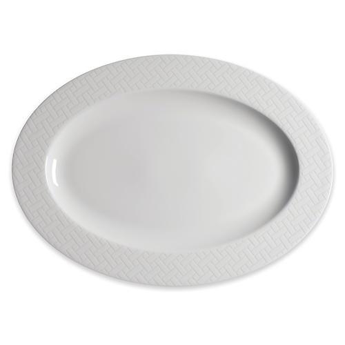 Wicker Oval Platter, White