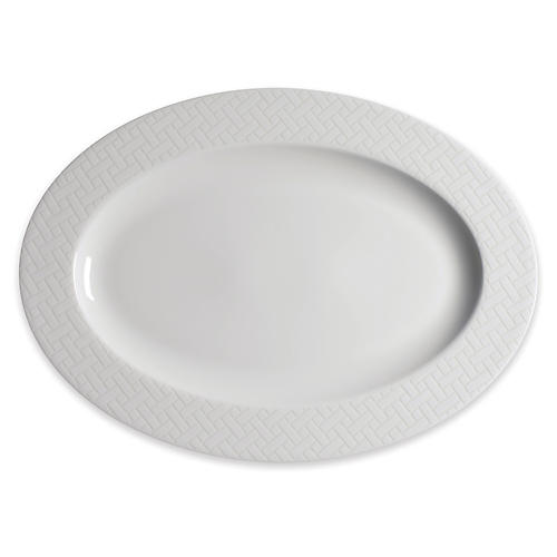 Wicker Oval Platter, White