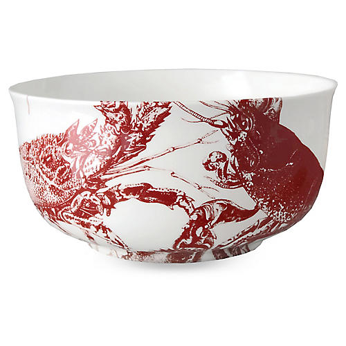 Lobster Serving Bowl, Red