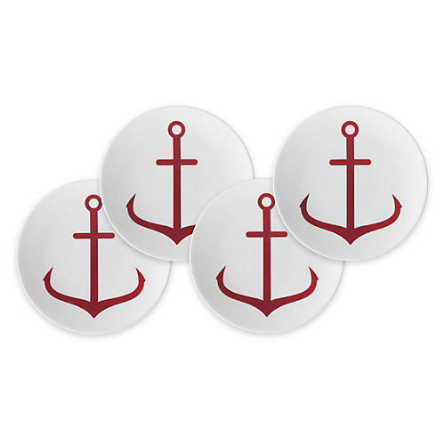 S/4 Anchor Canapé Plates, Red