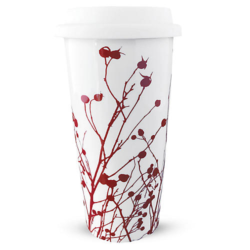 Winterberries Travel Mug, Red