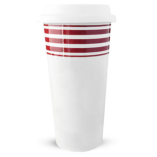 Beach Towel Striped Travel Mug, Red